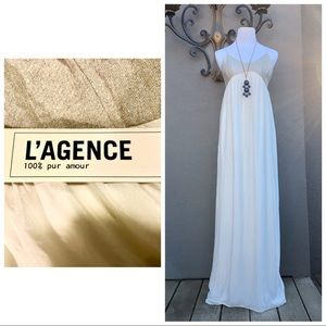 L' AGENCE White & Gold Maxi Dress